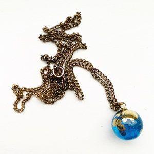 Vintage blue & gold glass globe pendant necklace